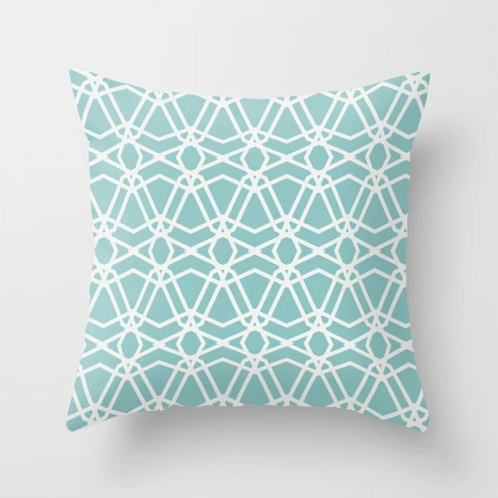 Aqua and White Line Geometric Pattern Chains Color of the Year Aqua Fiesta and Delicate White Throw Pillow