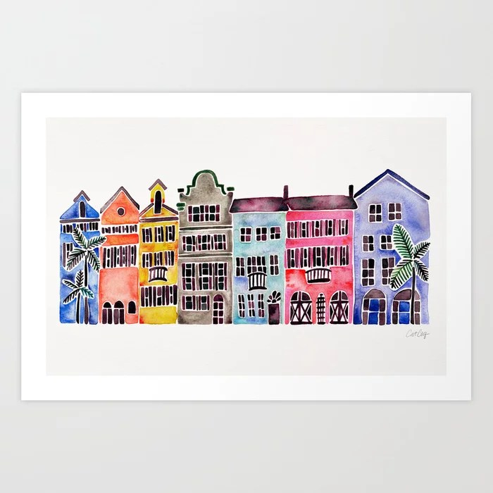 Sunday's Society6 | Rainbow houses of Charleston, art print