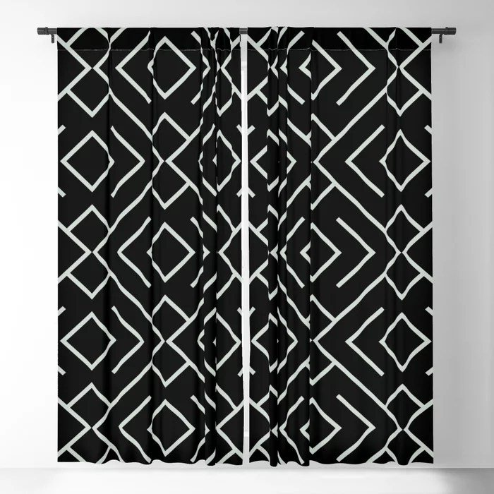Pastel Green and Black Shape Mosaic Pattern 4 Pairs Behr 2022 Color of the Year Breezeway MQ3-21 Blackout Curtain. Color for 2022
