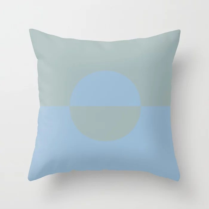 Pastel Blue and Light Aqua Minimal Circle Design 2 Throw Pillows inspired by and pairs to (matches / coordinates with) Dutch Boy 2021 Color of the Year Earth's Harmony and Grayed Aqua