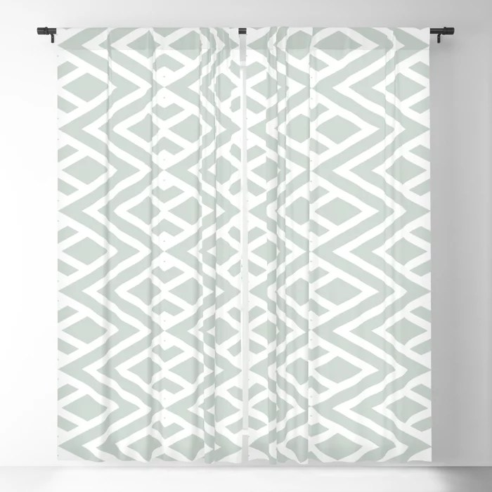 Pastel Green and White Minimal Diamond Pattern Pairs Behr 2022 Color of the Year Breezeway MQ3-21 Blackout Curtain. Spring/Summer 2022 color forecast