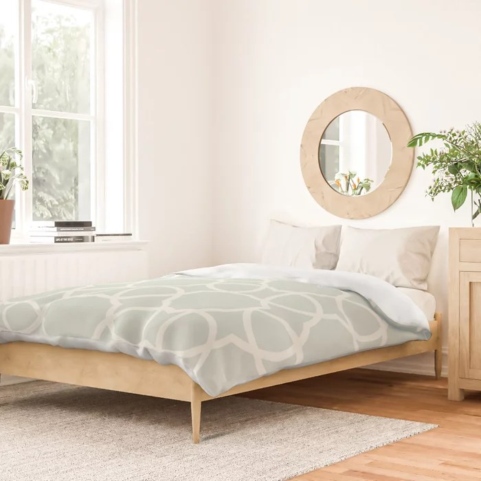 Pastel Green and Cream Petal Tile Pattern Pairs Behr 2022 Color of the Year Breezeway MQ3-21 Duvet Cover. 2022 color trend