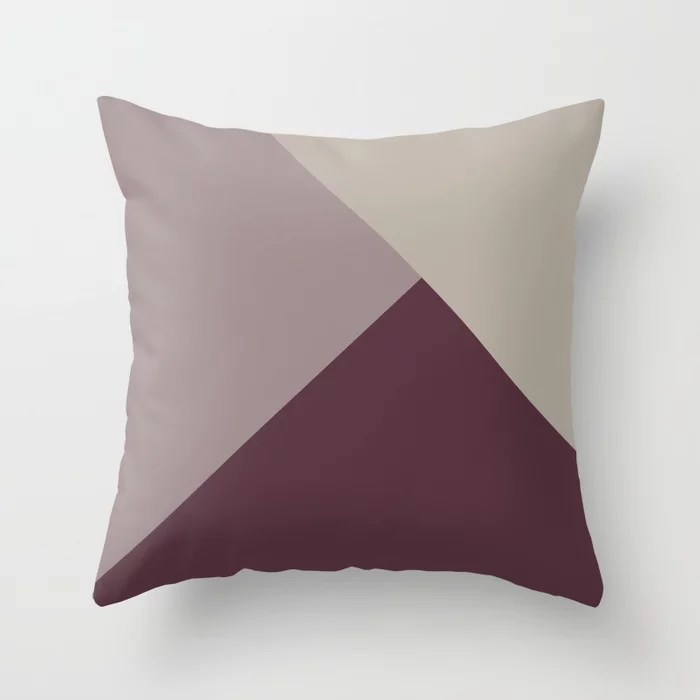 Purple Pink-Purple Taupe Gray Solid Color Abstract Throw Pillows inspired by and pairs to (matches / coordinates with) Graham and Brown 2021 Color of the Year Epoch and Accent Shades