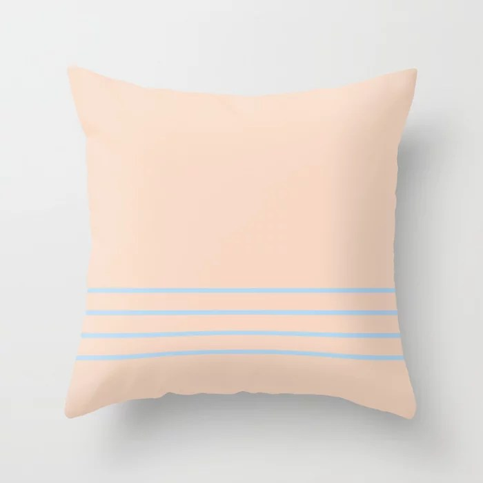 Baby Blue Peach Thin Horizontal 4 Stripe Pattern 2021 Color of the Year Wild Blue Yonder Natural Tan Throw Pillow