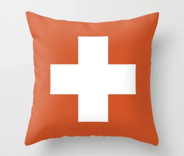 Swiss Cross Orange Throw Pillow