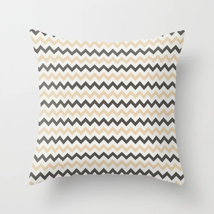 Brown Tan White Chevron Horizontal Stripe Pattern 2021 Color of the Year Urbane Bronze and Accents Throw Pillow