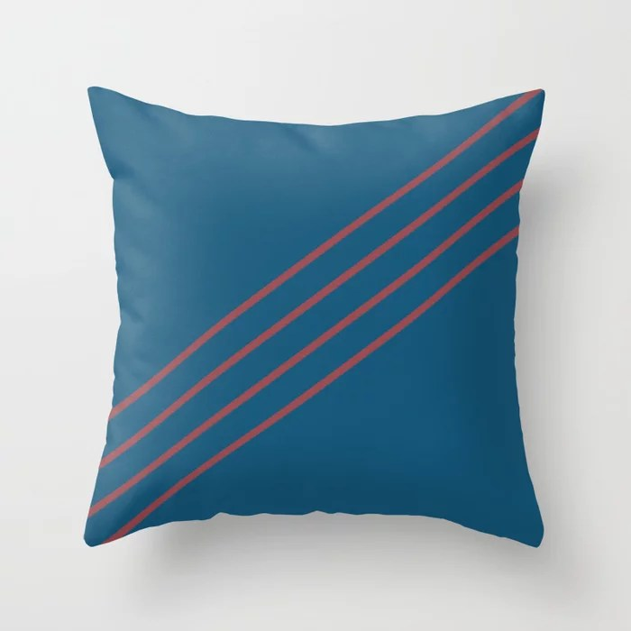 Red and Dark Blue Diagonal Line Pattern Pairs HGTV 2021 Color of the Year Passionate Throw Pillow