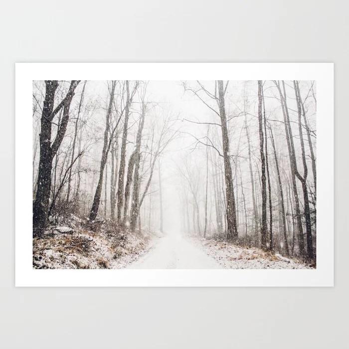 Sunday's Society6 | Winter path in winter wonderland art print