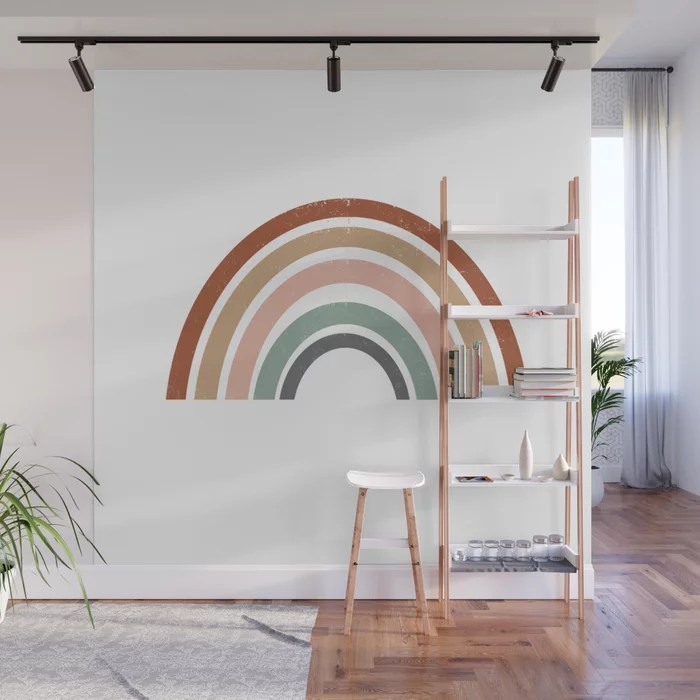 Rainbow Earth Tone Cute Kids Room Decor Muted Rainbow Art Print For Nursery Wall Mural By Charlottewinter Society6
