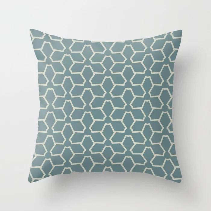 Blue-Green Beige Line Pattern 12 Abstract Flower 2021 Color of the Year Aegean Teal and Sweet Spring Throw Pillow