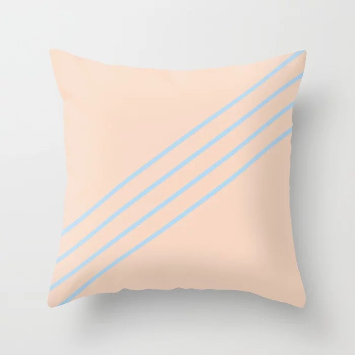 Baby Blue Peach Thin 4 Stripe Diagonal Pattern 2021 Color of the Year Wild Blue Yonder Natural Tan Throw Pillow