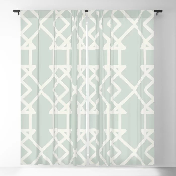 Mint Green and Cream Tessellation Pattern 27 Behr 2022 Color of the Year Breezeway MQ3-21 Blackout Curtain. Spring/Summer 2022 color forecast