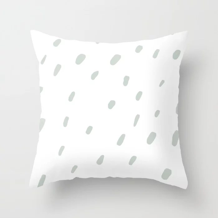 Mint Green and White Spots - Polka Dot Pattern Behr 2022 Color of the Year Breezeway MQ3-21 Throw Pillow. 2022 color scheme, trending interior design hue.