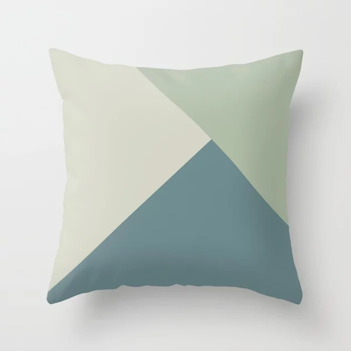 Muted Aqua Green and Beige Solid Color Abstract 2021 Color of the Year Aegean Teal & Accent Shades Throw Pillow