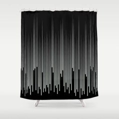 Pastel Green and Black Stripes Line Art Pattern Pairs Behr 2022 Color of the Year Breezeway MQ3-21 Shower Curtain. 2022 color trend