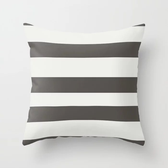 Brown and White Wide Horizontal Line Pattern Throw Pillows Match and coordinate with Sherwin Williams Paints 2021 Color of the Year Urbane Bronze Extra White