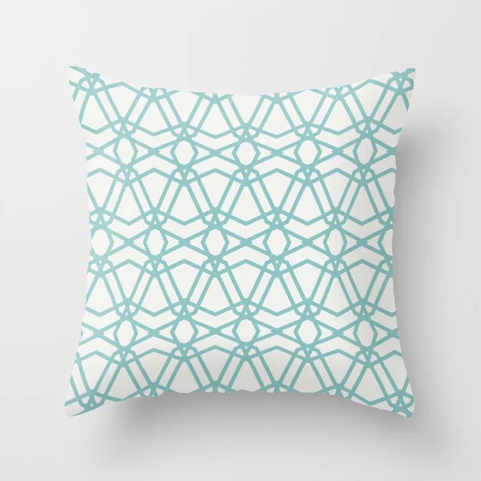 Pastel Teal - White Line Geometric Pattern 2021 Color of the Year Aqua Fiesta & Delicate White Throw Pillow