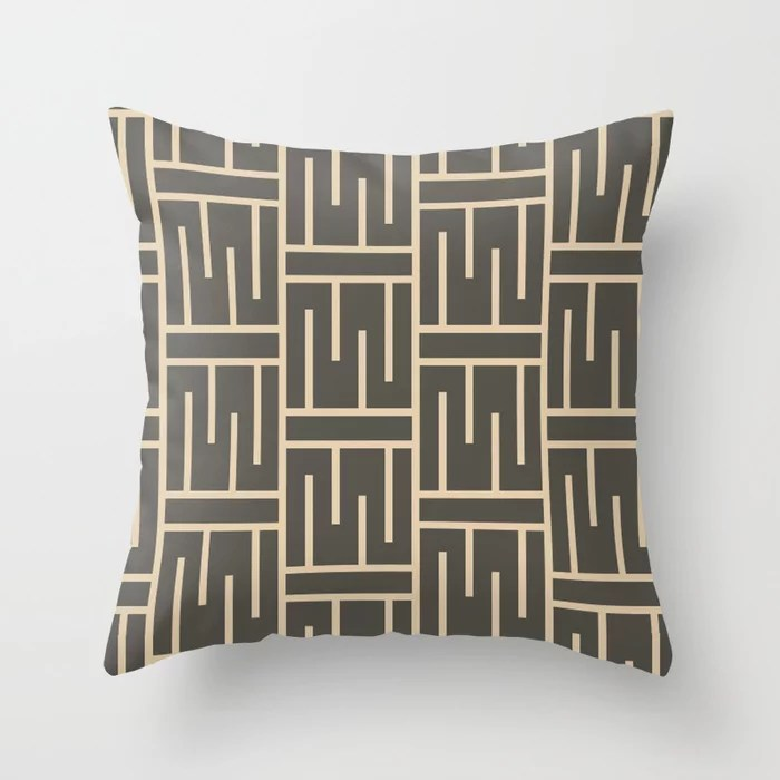 Brown And Buff Beige Minimal Line Art Pattern 3 V2 Throw Pillows Match and coordinate with Sherwin Williams Paints 2021 Color of the Year Urbane Bronze and Ivoire