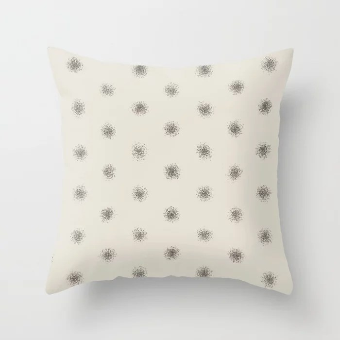 Dark Brown Cream Splatter Brush Polka Dot Pattern 2021 Color of the Year Urbane Bronze & Shoji White Throw Pillow