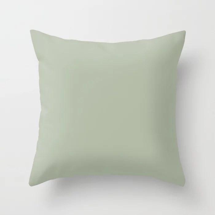 Mellow Sage Green Solid Color Pairs To Benjamin Moore Salisbury Green HC-139 Throw Pillow