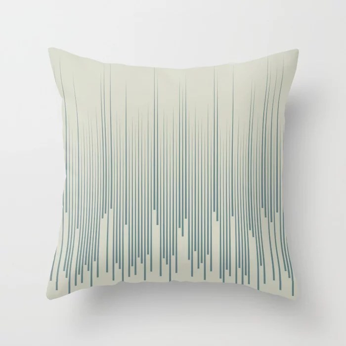 Blue-Green Beige Frequency Line Art Pattern 2021 Color of the Year Aegean Teal and Sweet Spring Throw Pillow