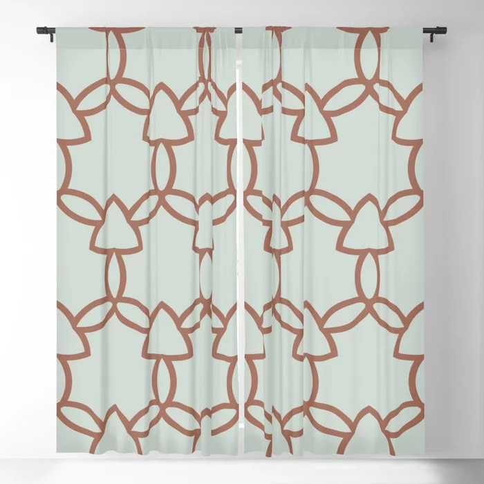 Mint Green and Terracotta Tessellation Pattern 29 Behr 2022 Color of the Year Breezeway MQ3-21 Blackout Curtain. Spring/Summer 2022 color forecast