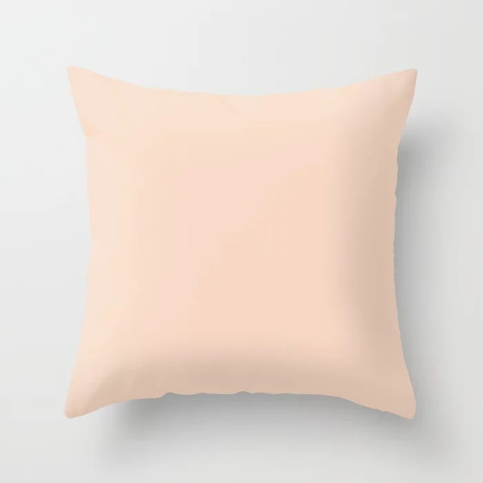 Light Pastel Pink Peach Solid Color Pairs To Dunn and Edwards Natural Tan Throw Pillow