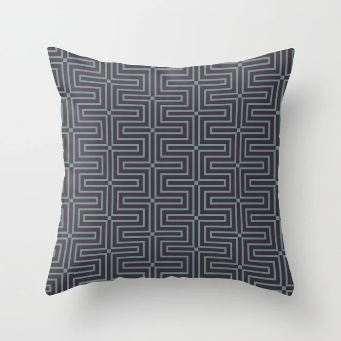 Blue-Green Purple Line Art Pattern 3 2021 Color of the Year Aegean Teal and Tulsa Twilight Throw Pillow