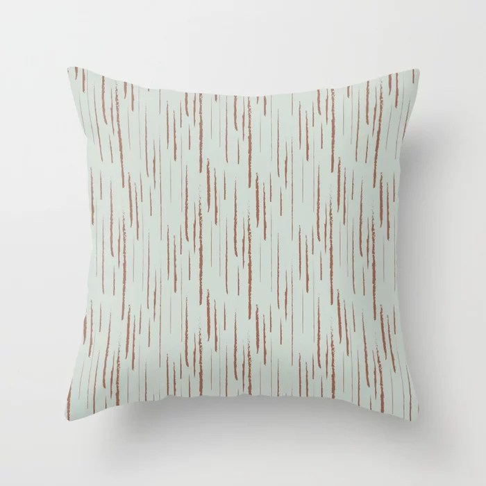 Pastel Green and Clay Vertical Stripe Pattern Pairs Behr 2022 Color of the Year Breezeway MQ3-21 Throw Pillow. 2022 color scheme, trending interior design hue.