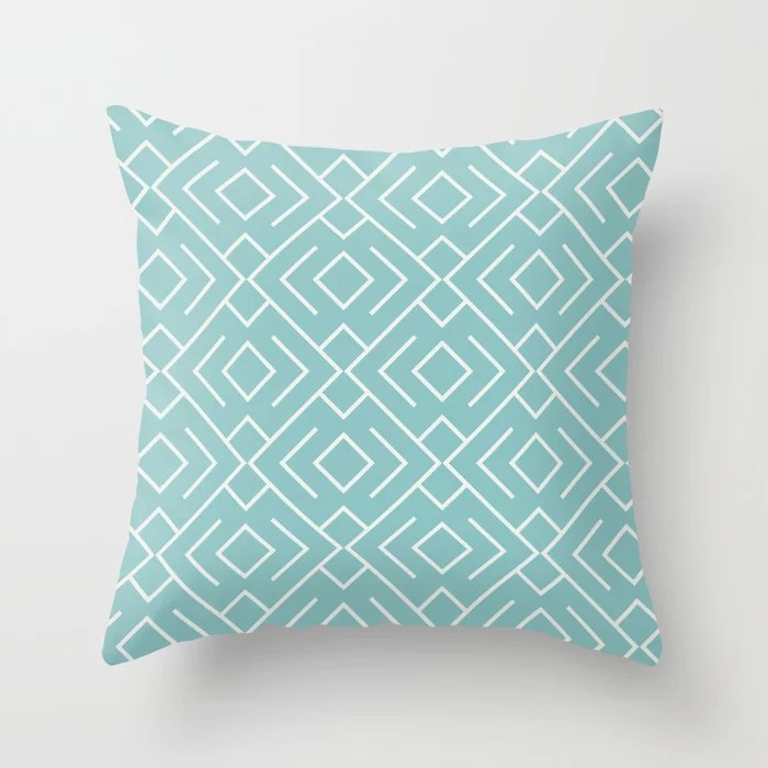 Aquamarine Geometric Mosaic Pattern 4 2021 Color of the Year Aqua Fiesta and Delicate White Throw Pillow