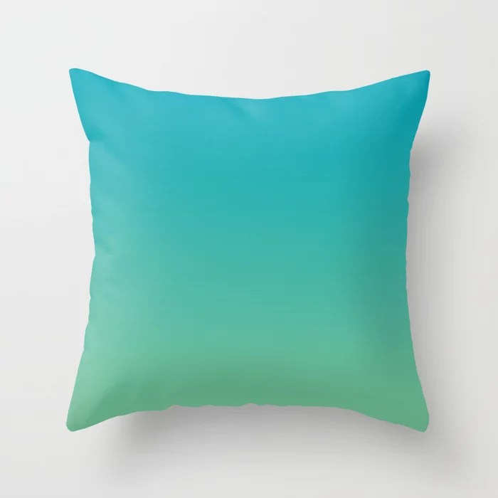 Aqua Blue and Green Gradient Ombre Blend 2021 Color of the Year AI Aqua and Quiet Wave Throw Pillow