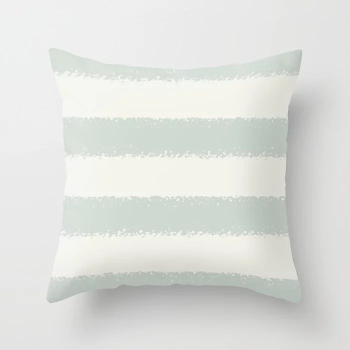 Mint Green and Cream Horizontal Stripe Pattern Behr 2022 Color of the Year Breezeway MQ3-21 Throw Pillow. 2022 color scheme, trending interior design hue.