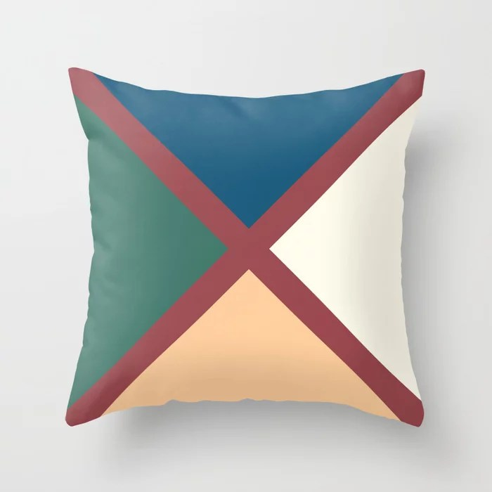 Red Off White Cream Green Minimal Line Pattern Pairs HGTV 2021 Color of the Year Passionate Throw Pillow