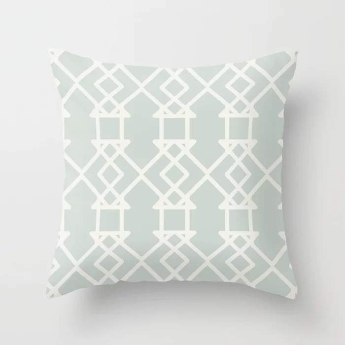 Mint Green and Cream Tessellation Pattern 27 Behr 2022 Color of the Year Breezeway MQ3-21 Throw Pillow. 2022 color scheme, trending interior design hue.