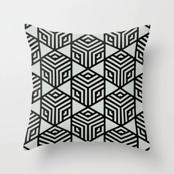 Pastel Green and Black Stripe Cube Tile Pattern Throw Pillow Pairs Behr 2022 Color of the Year Breezeway MQ3-21 Throw Pillow. 2022 color scheme, trending interior design hue.