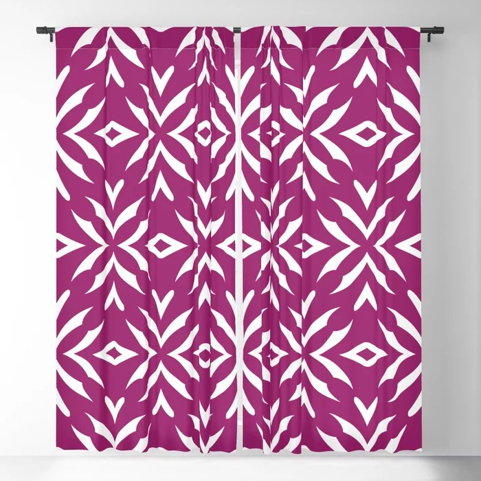 Magenta and White Abstract Flower Pattern - Colour of the Year 2022 Orchid Flower 150-38-31 Blackout Curtain - 2022 color trends interior design
