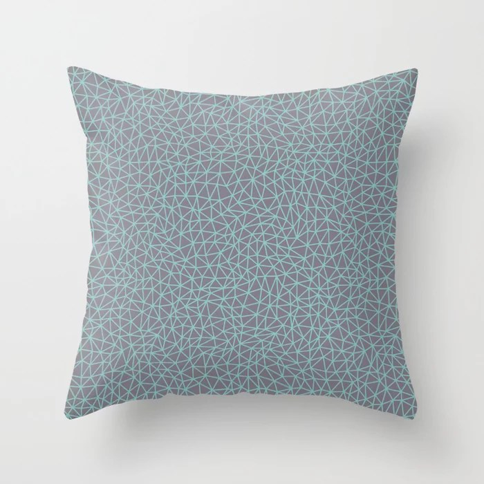 Pastel Teal and Purple Triangle Shape Pattern 2021 Color of the Year Aqua Fiesta and Magic Dust Throw Pillow