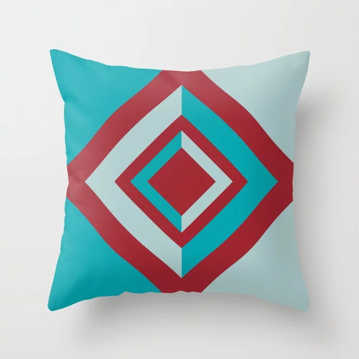 Red and Blue Geometric Diamond Shape Design 2021 Color of the Year Satin Paprika & Accent Shades Throw Pillow