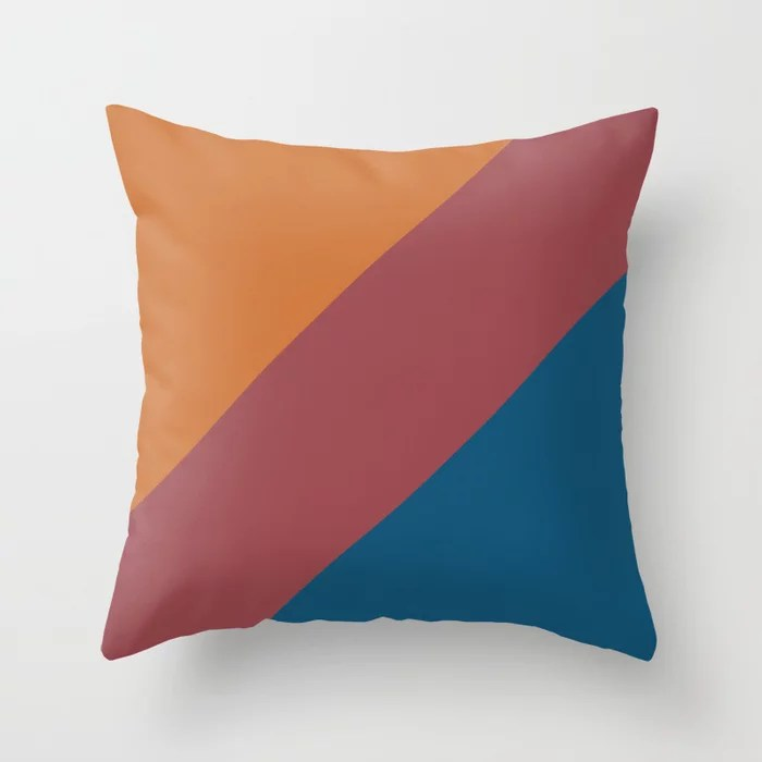 Red Orange Dark Blue Abstract Line Pattern Pairs HGTV 2021 Color of the Year Passionate Throw Pillow