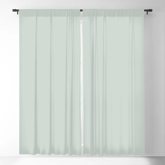 Pastel Green Solid Color blackout curtains Pairs Behr 2022 Color of the Year Breezeway MQ3-21. 2022 color scheme, trending interior design hue.
