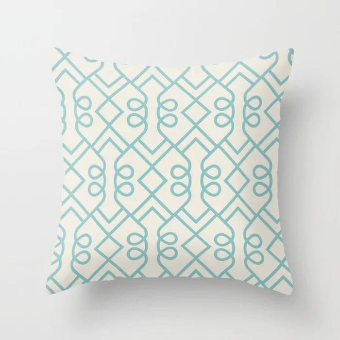 Aqua and Cream Minimal Diamond Loop Pattern 2021 Color of the Year Aqua Fiesta and Horseradish Throw Pillow