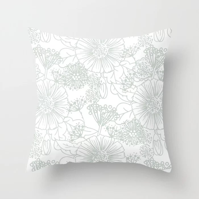 Pastel Green and White Hand Drawn Floral Pattern Pairs Behr 2022 Color of the Year Breezeway MQ3-21 Throw Pillow. 2022 color scheme, trending interior design hue.