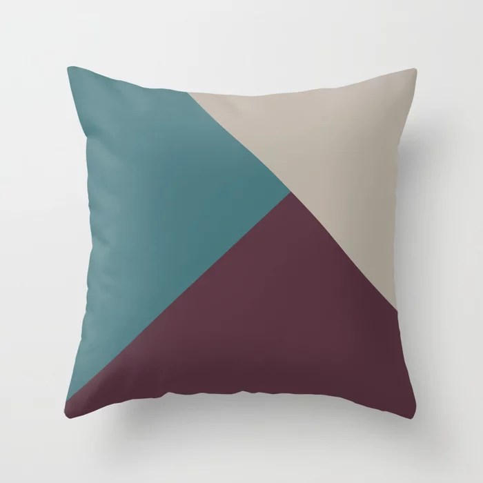 Purple Pink-Purple Aqua Solid Color Abstract Shape Throw Pillows inspired by and pairs to (matches / coordinates with) Graham and Brown 2021 Color of the Year Epoch and Accent Shades