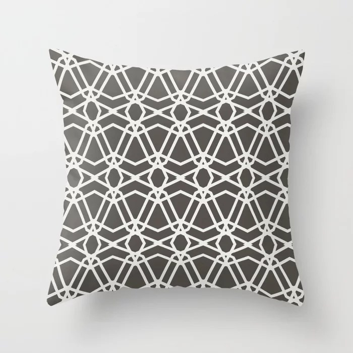 Brown and White Line Geometric Pattern Chains Throw Pillows match and coordinate with Sherwin Williams Paints 2021 Color of the Year Urbane Bronze Extra White