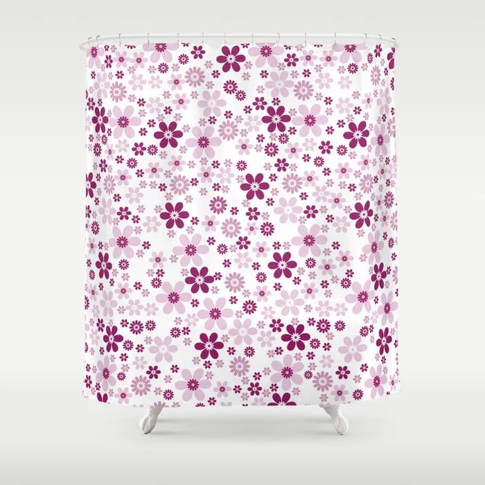 Magenta and White Simple Floral Flower Pattern - Colour of the Year 2022 Orchid Flower 150-38-31 Shower Curtain - 2022 colour trends interior decorating fuchsia - purple - pink