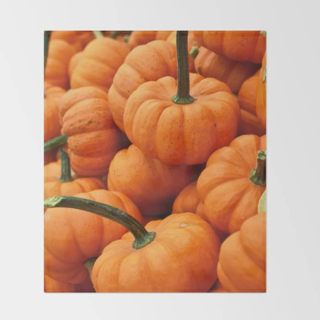 Autumn Pumpkins Throw Blanket by Stay Positive Design