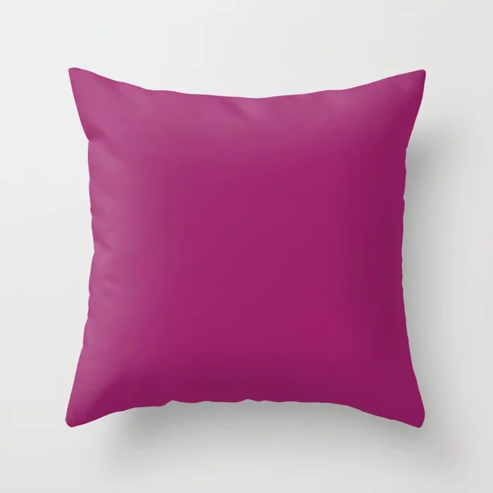 Orchid Flower Deep Pink Purple Solid Color 2022 Colour of the Year Throw Pillow. 2022 color trend - color scheme