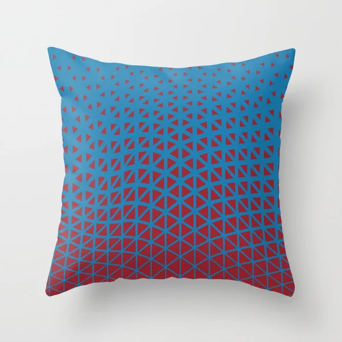 Red and Blue Geometric Wave Pattern 2021 Color of the Year Satin Paprika and Satin Lagoon Throw Pillow