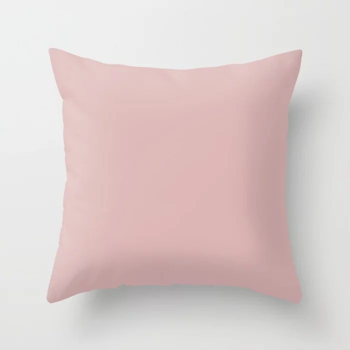 Fluffy Pastel Pink Single Solid Color Accent Shade Matches Sherwin Williams Appleblossom SW 0076 Throw Pillow