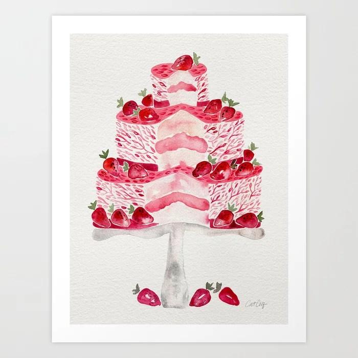 Sunday's Society6 | Pink strawberry cake art print